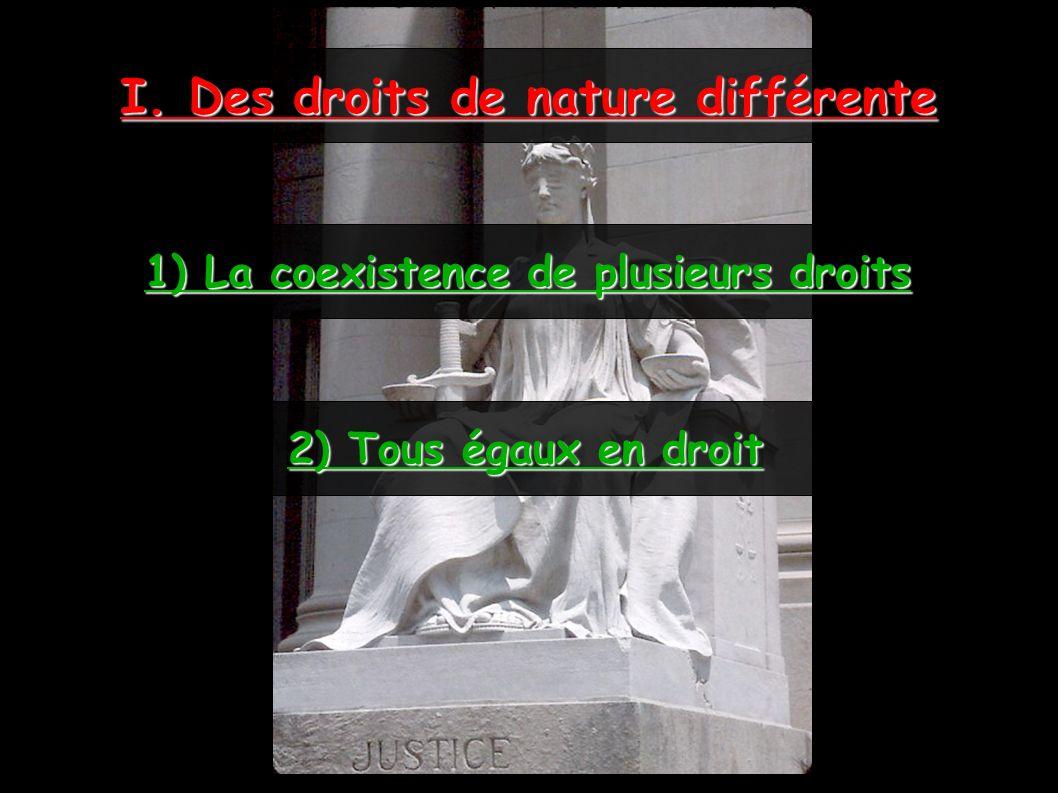 I. Des droits de nature différente 1) La coexistence de plusieurs droits 2) Tous égaux en droit