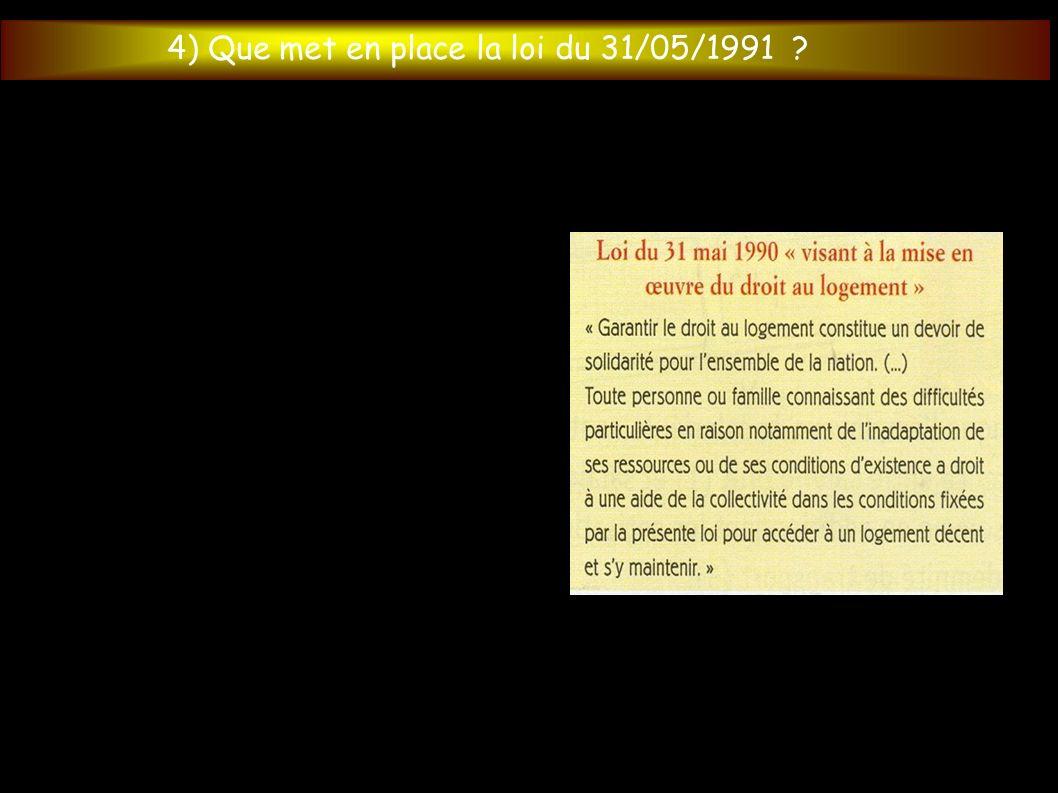 4) Que met en place la loi du 31/05/1991