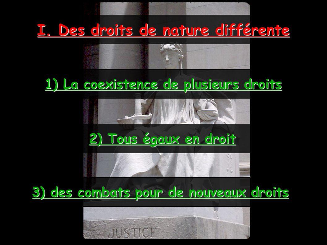 I. Des droits de nature différente 1) La coexistence de plusieurs droits 2) Tous égaux en droit 3) des combats pour de nouveaux droits