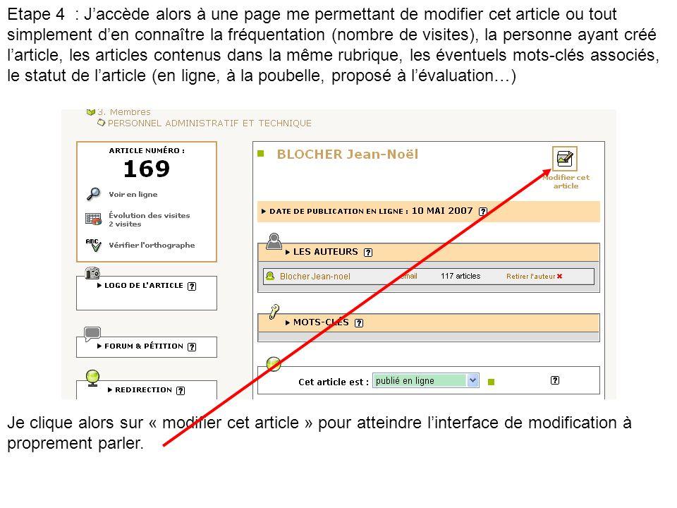 Etape 4 : Jaccède alors à une page me permettant de modifier cet article ou tout simplement den connaître la fréquentation (nombre de visites), la per
