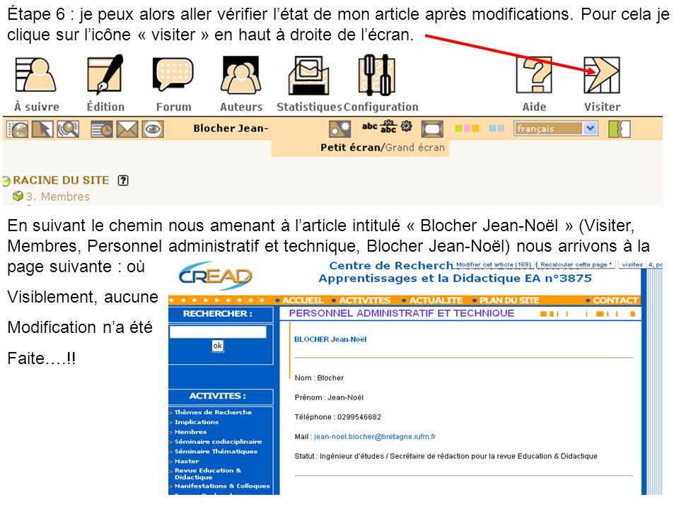 Étape 6 : je peux alors aller vérifier létat de mon article après modifications. Pour cela je clique sur licône « visiter » en haut à droite de lécran