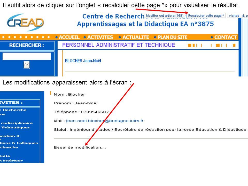 Il suffit alors de cliquer sur longlet « recalculer cette page *» pour visualiser le résultat. Les modifications apparaissent alors à lécran :