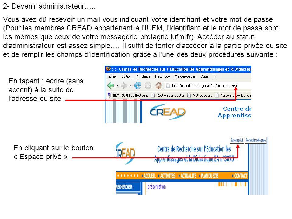 2- Devenir administrateur….. Vous avez dû recevoir un mail vous indiquant votre identifiant et votre mot de passe (Pour les membres CREAD appartenant