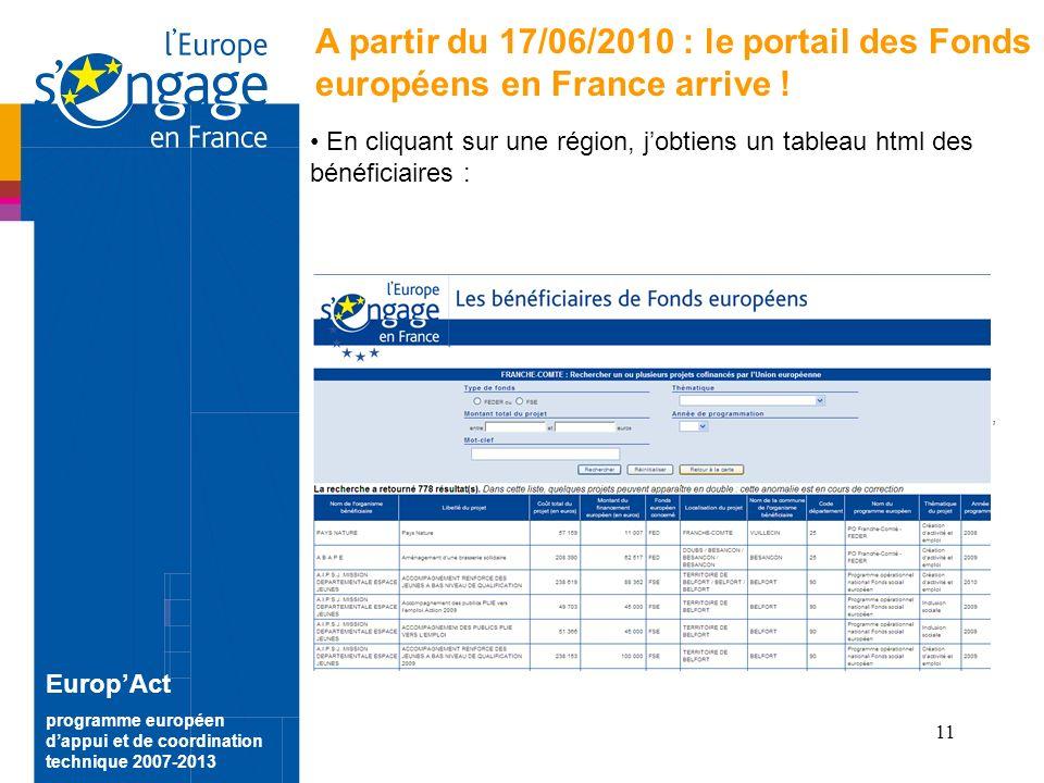 11 EuropAct programme européen dappui et de coordination technique 2007-2013 A partir du 17/06/2010 : le portail des Fonds européens en France arrive .