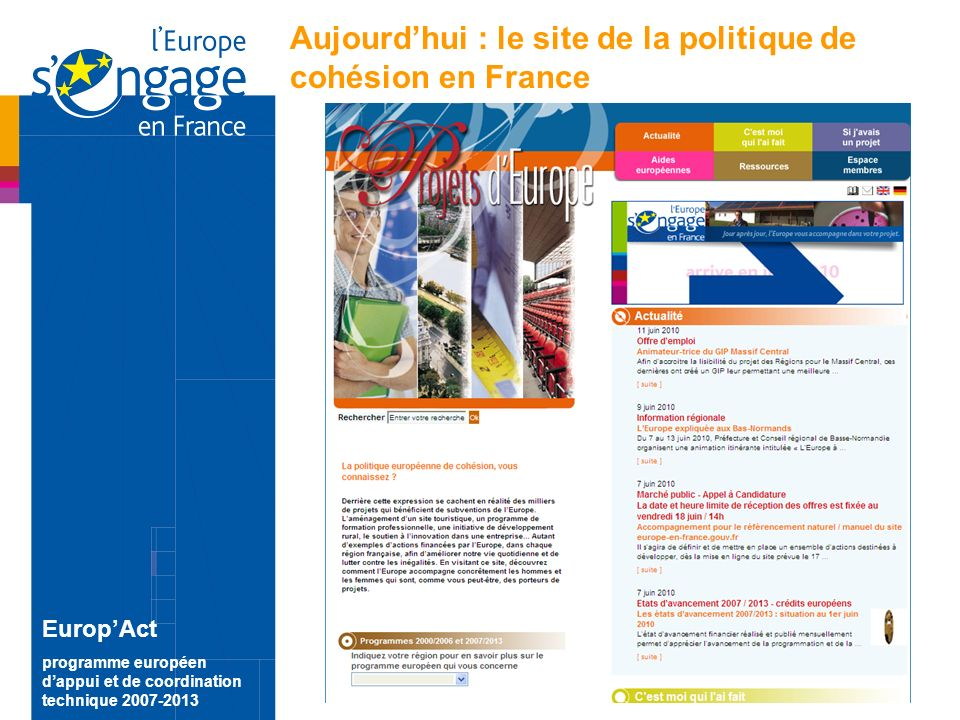 2 EuropAct programme européen dappui et de coordination technique 2007-2013 Aujourdhui : le site de la politique de cohésion en France
