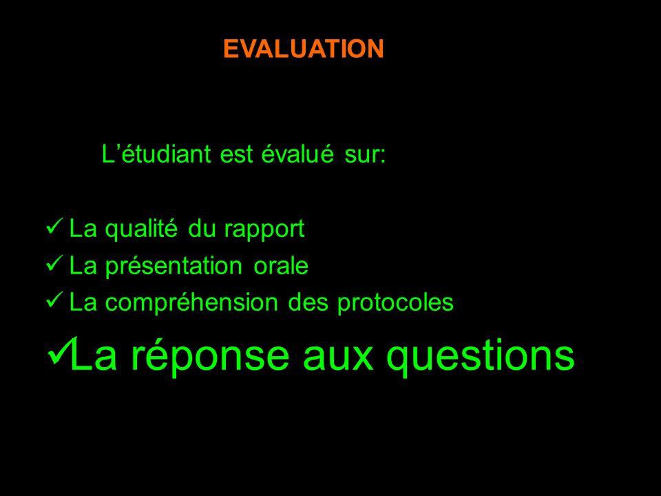 Létudiant est évalué sur: La qualité du rapport La présentation orale La compréhension des protocoles La réponse aux questions NB/ La note est pondérée par lappréciation de lencadrant EVALUATION