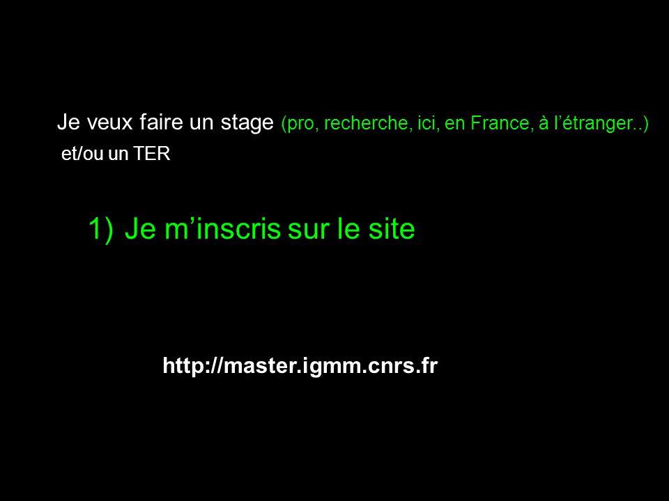 http://master.igmm.cnrs.fr 1)Je minscris sur le site Je veux faire un stage (pro, recherche, ici, en France, à létranger..) et/ou un TER