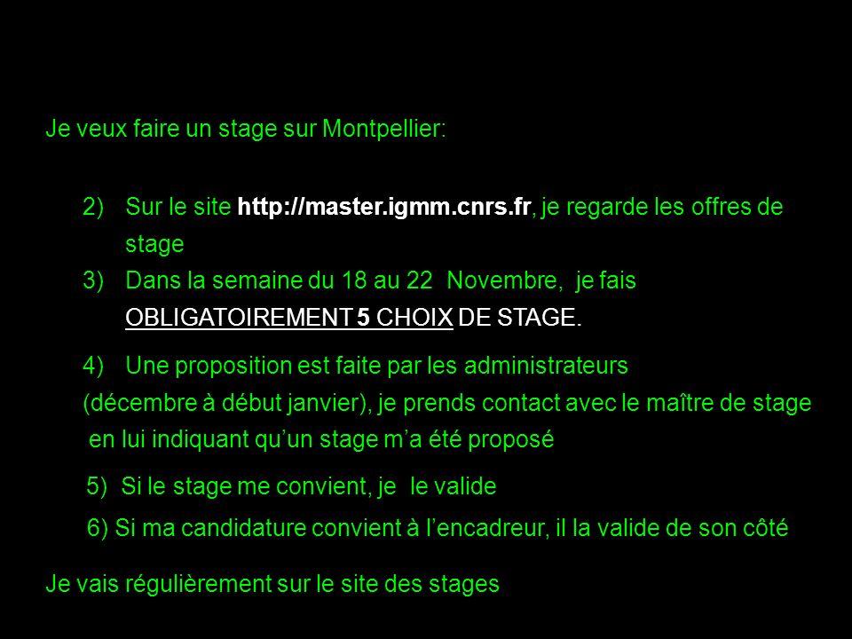 2)Sur le site http://master.igmm.cnrs.fr, je regarde les offres de stage 3)Dans la semaine du 18 au 22 Novembre, je fais OBLIGATOIREMENT 5 CHOIX DE STAGE.