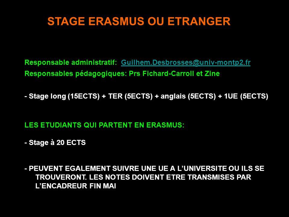 STAGE ERASMUS OU ETRANGER Responsable administratif: Guilhem.Desbrosses@univ-montp2.frGuilhem.Desbrosses@univ-montp2.fr Responsables pédagogiques: Prs Fichard-Carroll et Zine - Stage long (15ECTS) + TER (5ECTS) + anglais (5ECTS) + 1UE (5ECTS) LES ETUDIANTS QUI PARTENT EN ERASMUS: - Stage à 20 ECTS - PEUVENT EGALEMENT SUIVRE UNE UE A LUNIVERSITE OU ILS SE TROUVERONT.