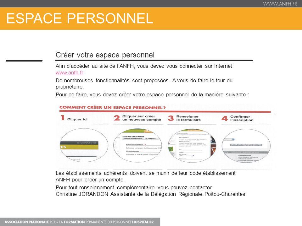 ESPACE PERSONNEL Créer votre espace personnel Afin daccéder au site de lANFH, vous devez vous connecter sur Internet www.anfh.fr www.anfh.fr De nombre