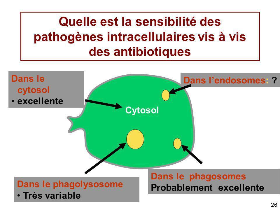 26 Quelle est la sensibilité des pathogènes intracellulaires vis à vis des antibiotiques Dans lendosomes: ? Dans le cytosol excellente Dans le phagoso