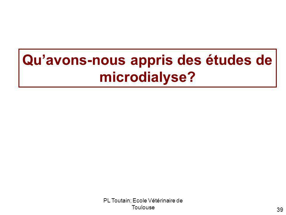 PL Toutain; Ecole Vétérinaire de Toulouse 39 Quavons-nous appris des études de microdialyse?