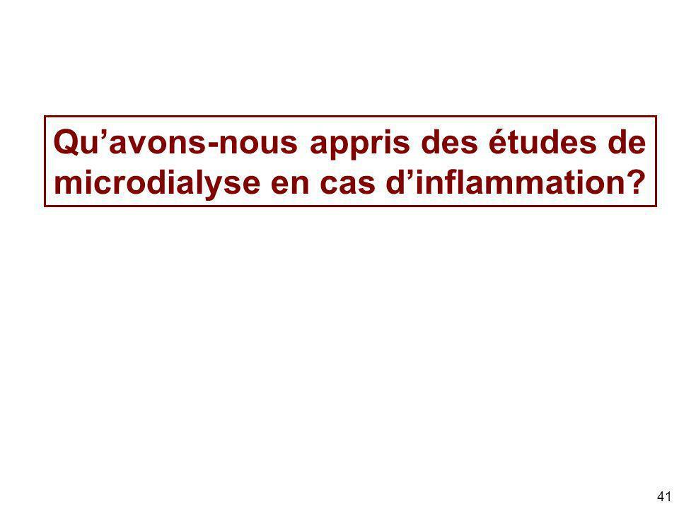 41 Quavons-nous appris des études de microdialyse en cas dinflammation?