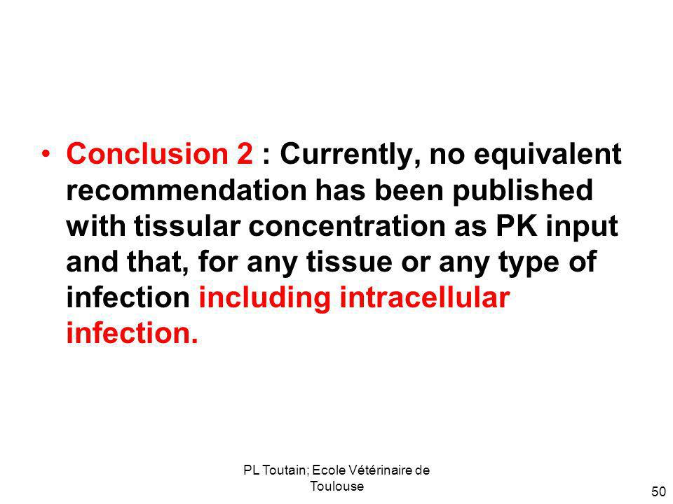 PL Toutain; Ecole Vétérinaire de Toulouse 50 Conclusion 2 : Currently, no equivalent recommendation has been published with tissular concentration as PK input and that, for any tissue or any type of infection including intracellular infection.