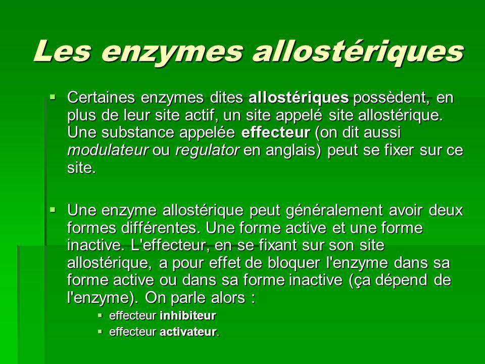 Les enzymes allostériques Certaines enzymes dites allostériques possèdent, en plus de leur site actif, un site appelé site allostérique. Une substance