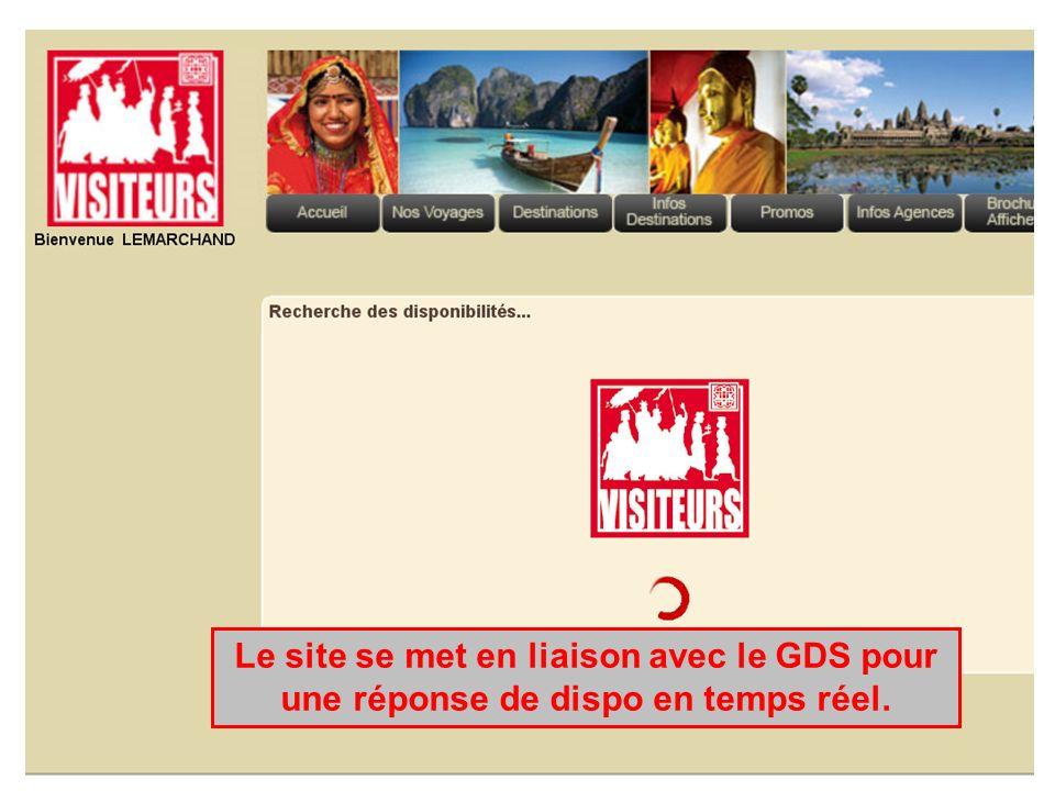 Le site se met en liaison avec le GDS pour une réponse de dispo en temps réel.