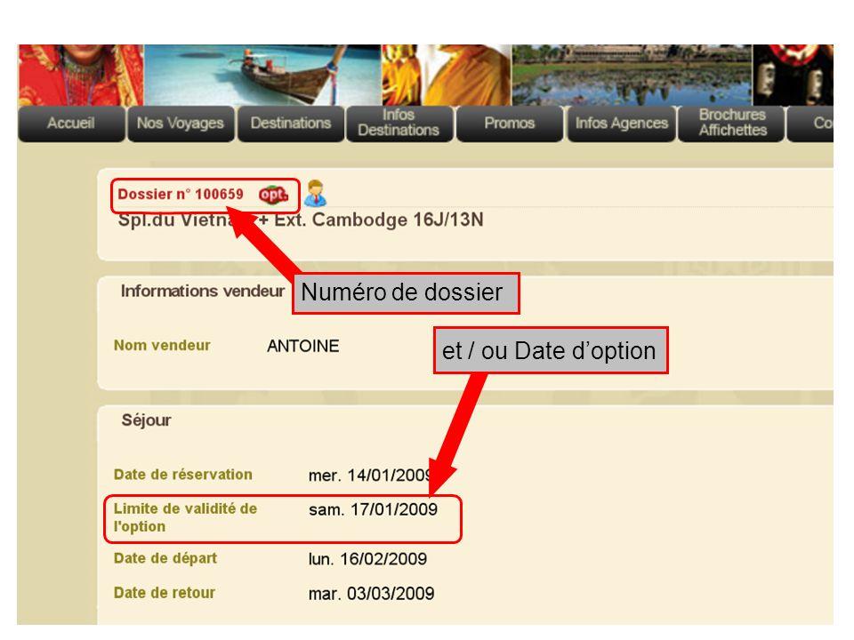 et / ou Date doption Numéro de dossier