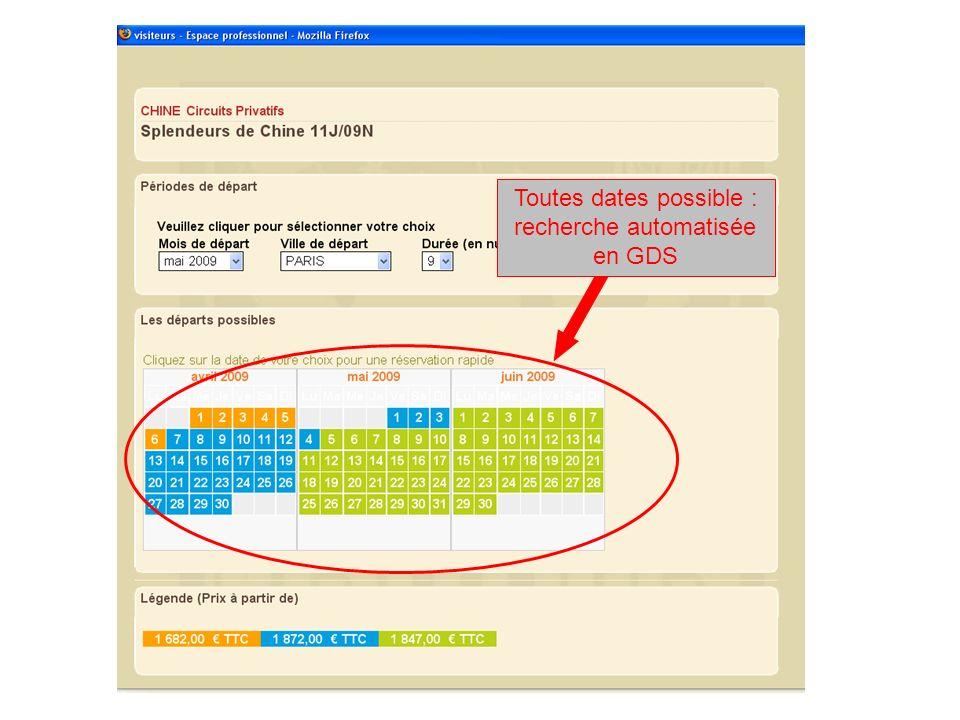 Toutes dates possible : recherche automatisée en GDS