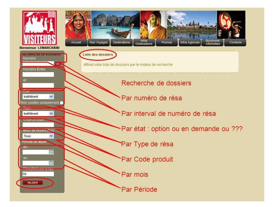Recherche de dossiers Par numéro de résa Par interval de numéro de résa Par état : option ou en demande ou ??? Par Type de résa Par Code produit Par m