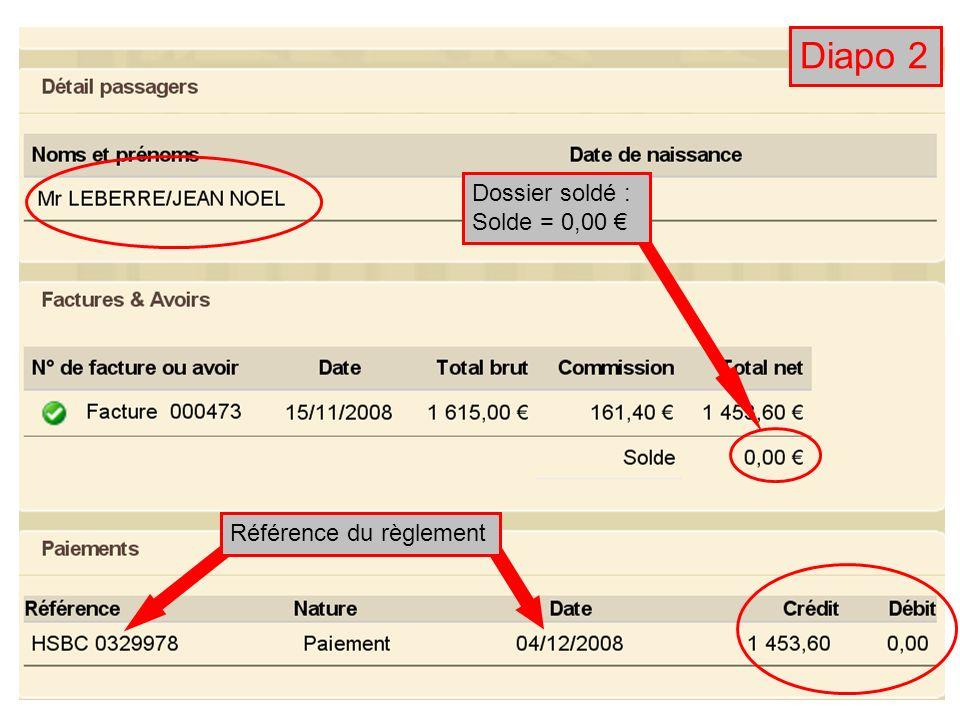 Diapo 2 Dossier soldé : Solde = 0,00 Référence du règlement