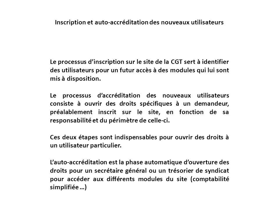 Inscription sur le site Linscription sur le site du nouveau système est nécessaire pour identifier tout utilisateur quil soit responsable de Fédération, UD, UL ou syndicat ou syndiqué Cette inscription est nominative et personnelle.