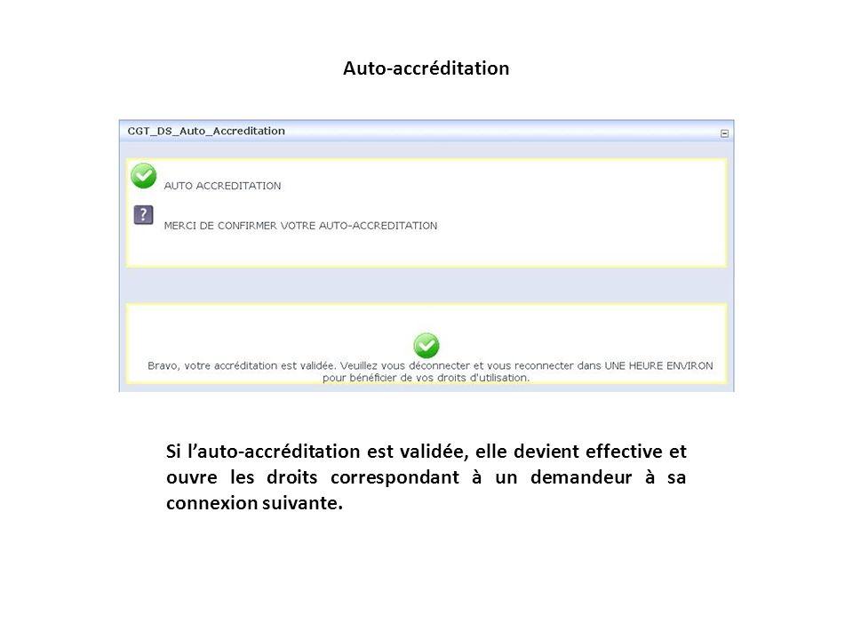 Auto-accréditation Si lauto-accréditation est validée, elle devient effective et ouvre les droits correspondant à un demandeur à sa connexion suivante