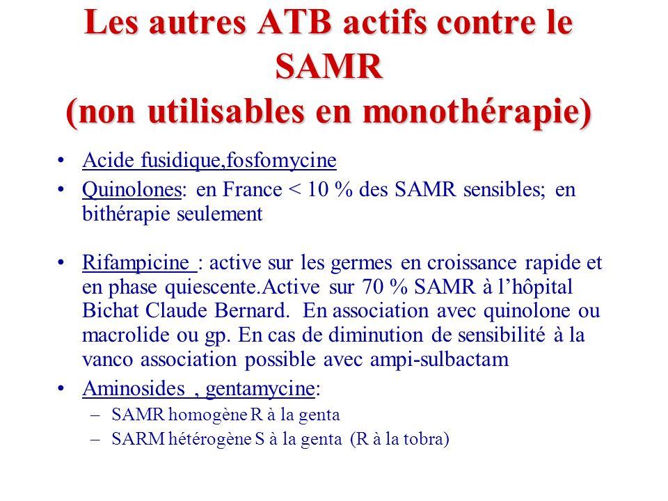 Les autres ATB actifs contre le SAMR (non utilisables en monothérapie) Acide fusidique,fosfomycine Quinolones: en France < 10 % des SAMR sensibles; en bithérapie seulement Rifampicine : active sur les germes en croissance rapide et en phase quiescente.Active sur 70 % SAMR à lhôpital Bichat Claude Bernard.