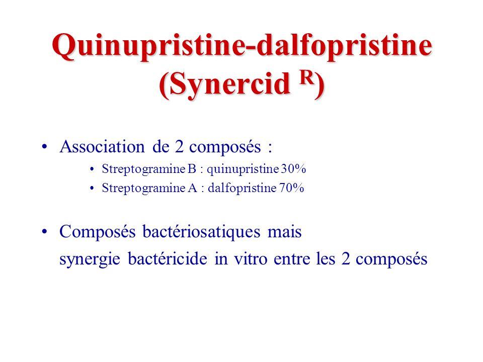 Quinupristine-dalfopristine (Synercid R ) Association de 2 composés : Streptogramine B : quinupristine 30% Streptogramine A : dalfopristine 70% Composés bactériosatiques mais synergie bactéricide in vitro entre les 2 composés