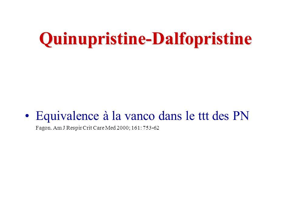 Quinupristine-Dalfopristine Equivalence à la vanco dans le ttt des PN Fagon.