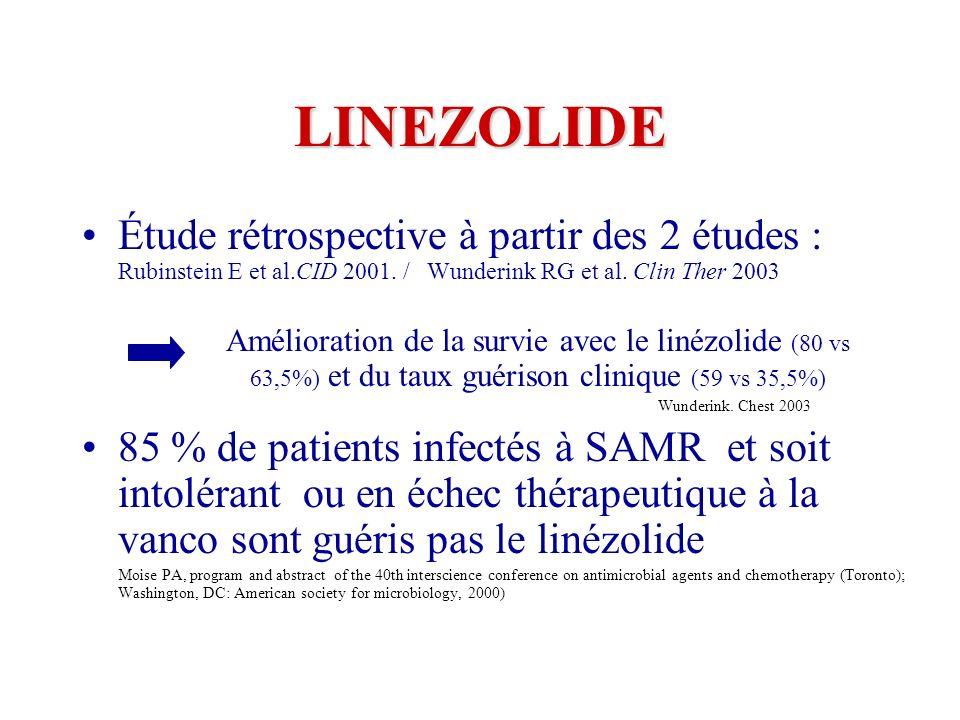 LINEZOLIDE Étude rétrospective à partir des 2 études : Rubinstein E et al.CID 2001.