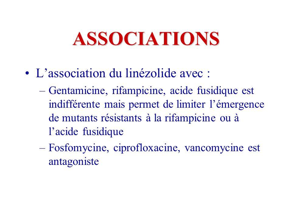 ASSOCIATIONS Lassociation du linézolide avec : –Gentamicine, rifampicine, acide fusidique est indifférente mais permet de limiter lémergence de mutants résistants à la rifampicine ou à lacide fusidique –Fosfomycine, ciprofloxacine, vancomycine est antagoniste