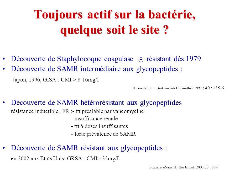 LINEZOLIDE dans les pneumonies nosocomiales Méthodologie –2 études de phase III chez ladulte, randomisées, en double aveugle, contrôlées, Zyvoxid vs Vancomycine Patients –Rubinstein (1) : n=396 (zyvoxid: 203; vancomycine : 193) –Wundeink (2) : n= 623 (zyvoxid : 321; vancomycine : 302) Traitement –Zyvoxid : 600 mg IV x 2 / j +/- aztreonam –Vancomycine 1 g IV x 2 / j +/- aztreonam –Durée de ttt: 7-21 j