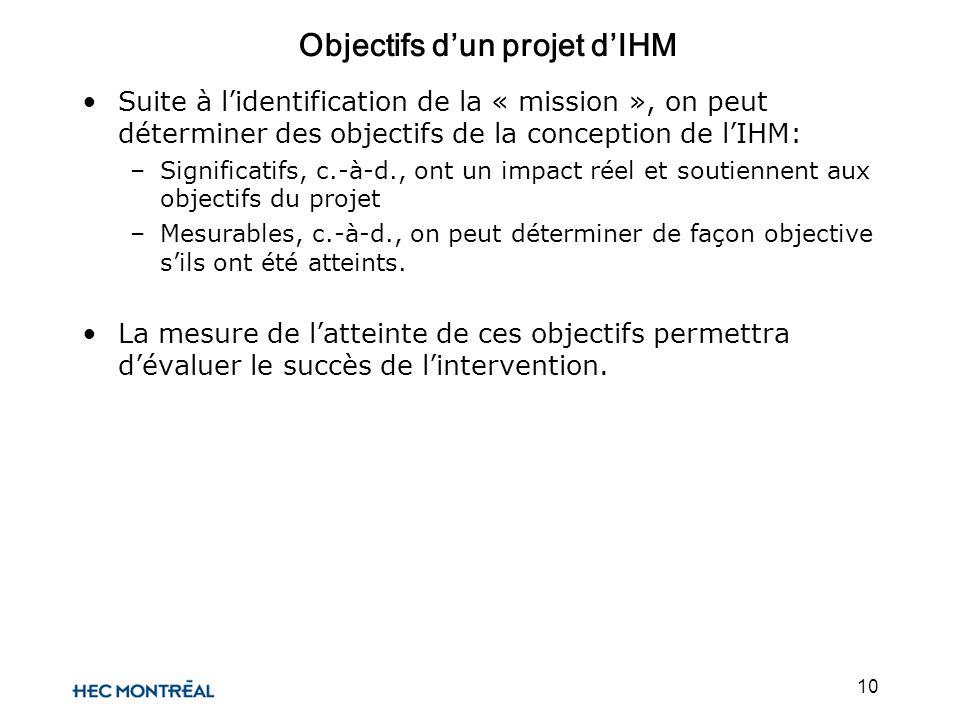 10 Suite à lidentification de la « mission », on peut déterminer des objectifs de la conception de lIHM: –Significatifs, c.-à-d., ont un impact réel e