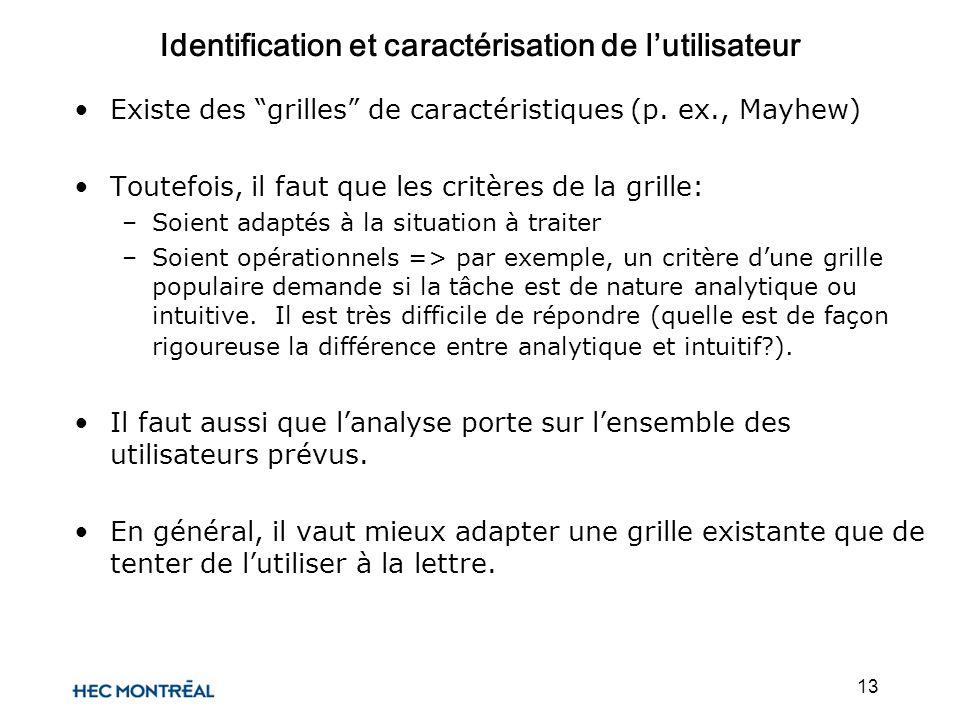 13 Existe des grilles de caractéristiques (p. ex., Mayhew) Toutefois, il faut que les critères de la grille: –Soient adaptés à la situation à traiter