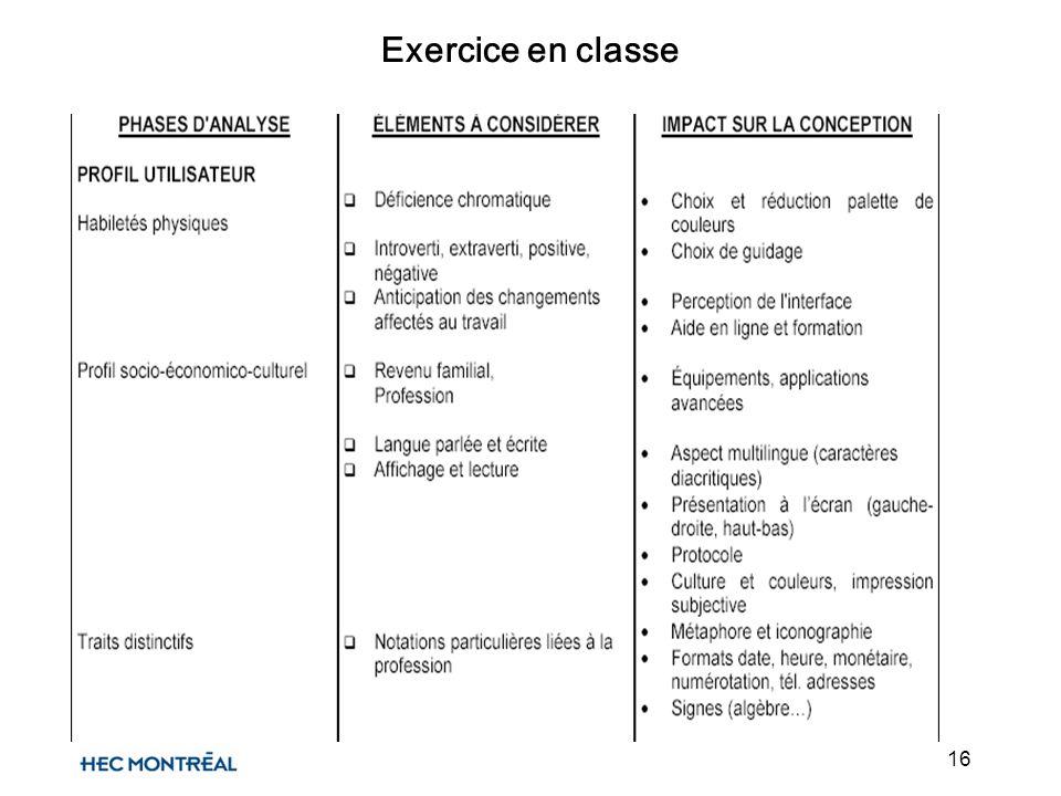 16 Exercice en classe