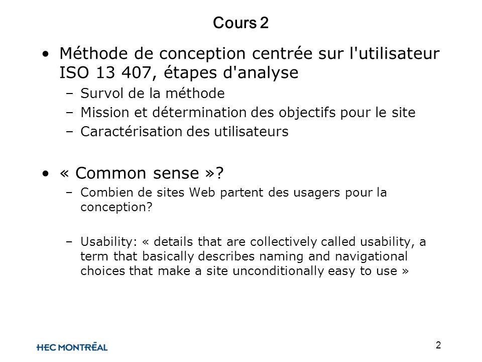 2 Cours 2 Méthode de conception centrée sur l'utilisateur ISO 13 407, étapes d'analyse –Survol de la méthode –Mission et détermination des objectifs p