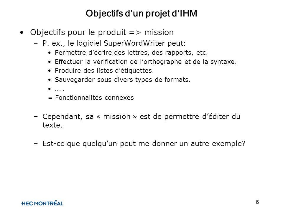 6 Objectifs dun projet dIHM Objectifs pour le produit => mission –P. ex., le logiciel SuperWordWriter peut: Permettre décrire des lettres, des rapport