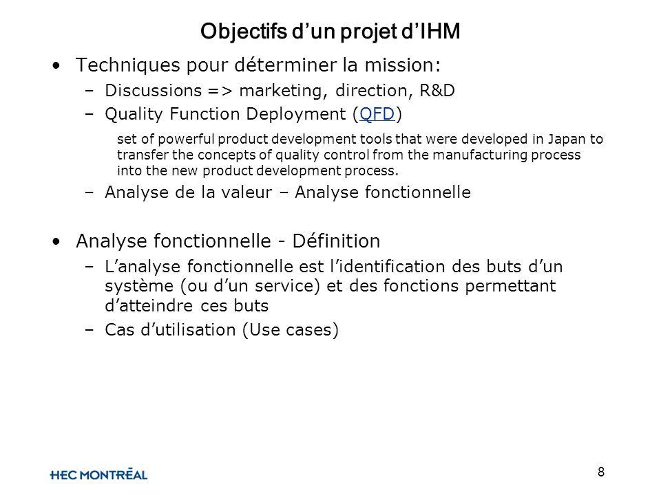 8 Objectifs dun projet dIHM Techniques pour déterminer la mission: –Discussions => marketing, direction, R&D –Quality Function Deployment (QFD)QFD set