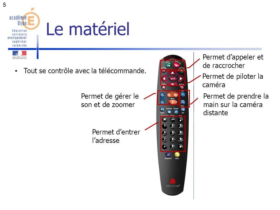 Le matériel 5 Tout se contrôle avec la télécommande.