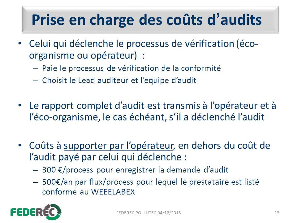 Prise en charge des coûts daudits Celui qui déclenche le processus de vérification (éco- organisme ou opérateur) : – Paie le processus de vérification