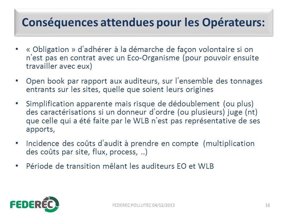 Conséquences attendues pour les Opérateurs: « Obligation » dadhérer à la démarche de façon volontaire si on nest pas en contrat avec un Eco-Organisme