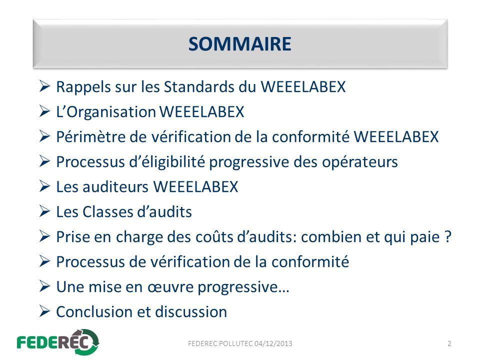 SOMMAIRE Rappels sur les Standards du WEEELABEX LOrganisation WEEELABEX Périmètre de vérification de la conformité WEEELABEX Processus déligibilité pr