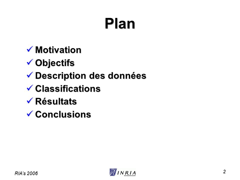 RIAs 2006 2 Plan Motivation Motivation Objectifs Objectifs Description des données Description des données Classifications Classifications Résultats R