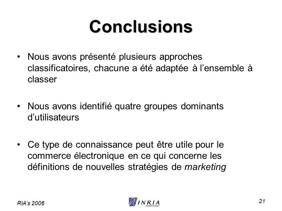 RIAs 2006 21 Conclusions Nous avons présenté plusieurs approches classificatoires, chacune a été adaptée à lensemble à classer Nous avons identifié qu