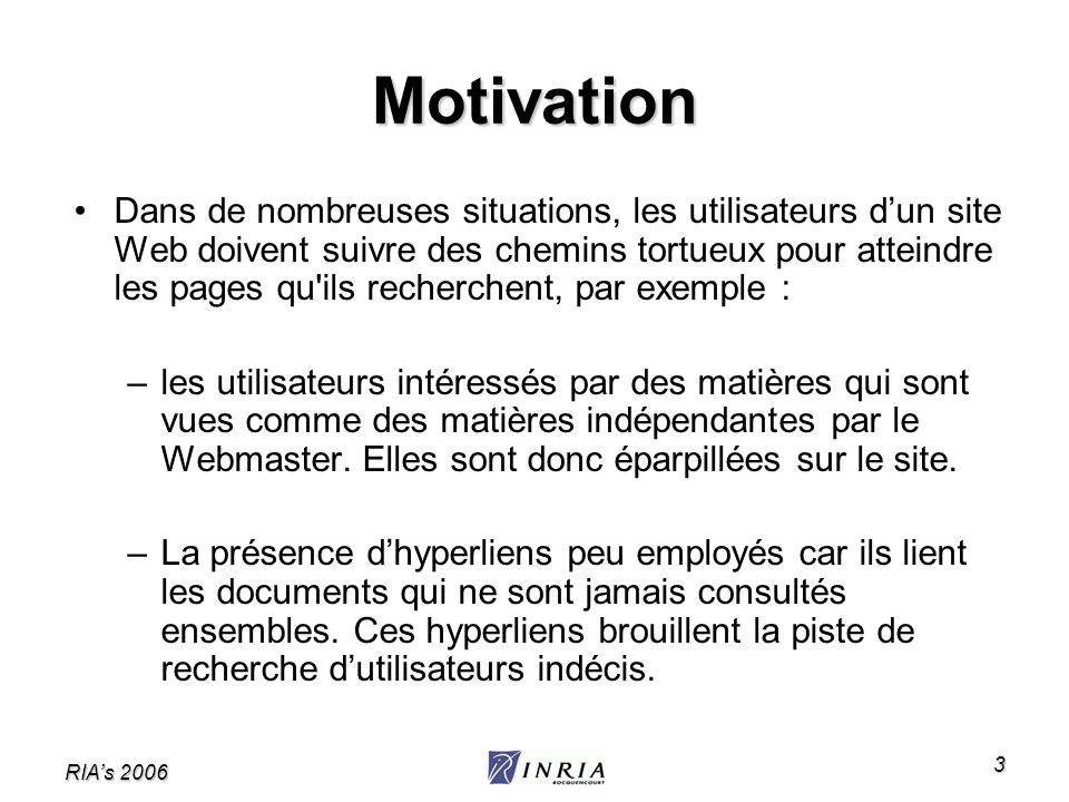 RIAs 2006 3 Motivation Dans de nombreuses situations, les utilisateurs dun site Web doivent suivre des chemins tortueux pour atteindre les pages qu'il