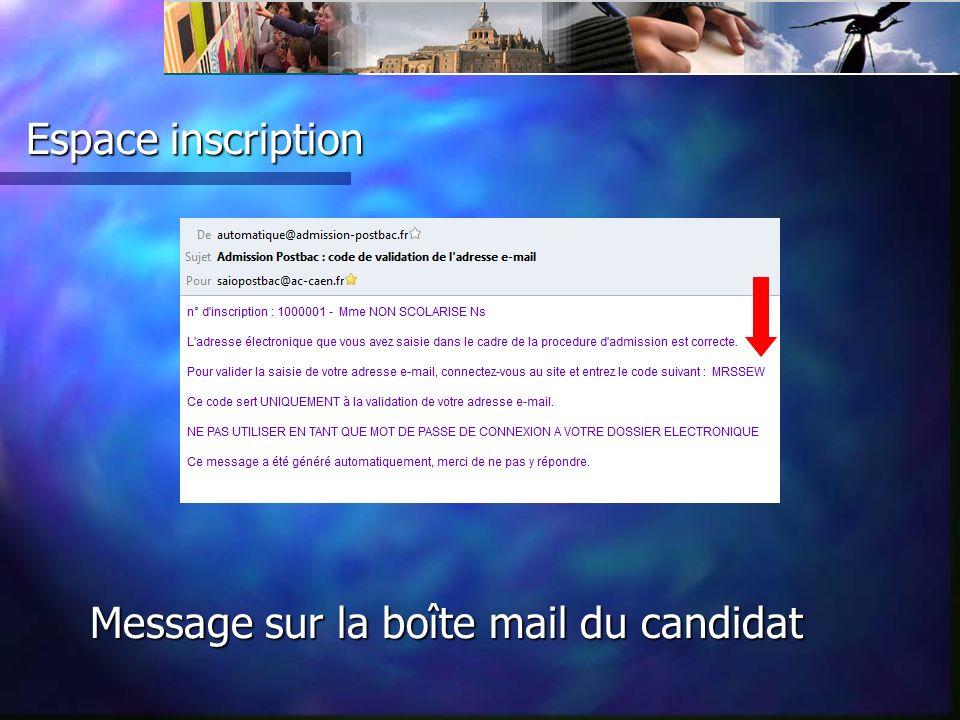 Message sur la boîte mail du candidat