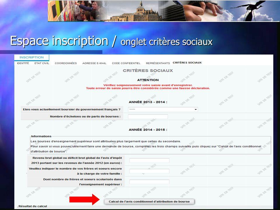 Espace inscription / onglet critères sociaux
