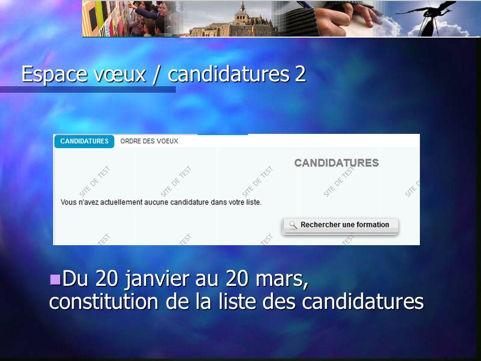 Espace vœux / candidatures 2 Du 20 janvier au 20 mars, constitution de la liste des candidatures Du 20 janvier au 20 mars, constitution de la liste des candidatures