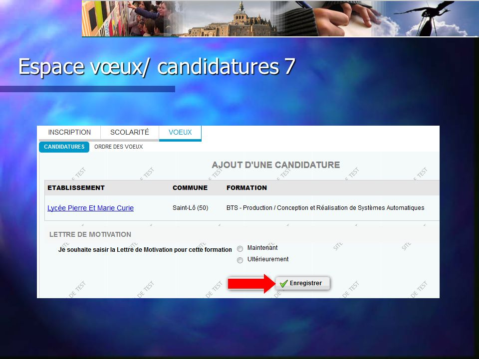 Espace vœux/ candidatures 7