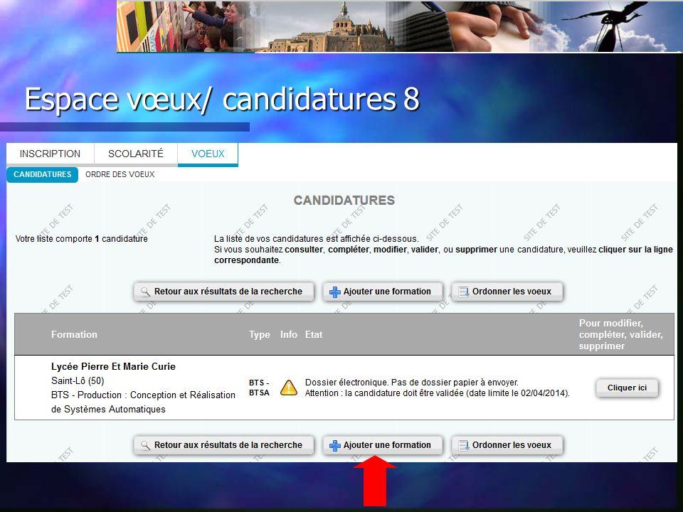 Espace vœux/ candidatures 8